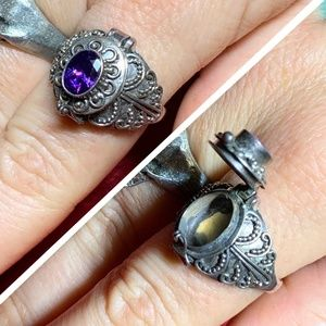 Vintage NOS Amethyst Poison Snuff 925 Silver Ring